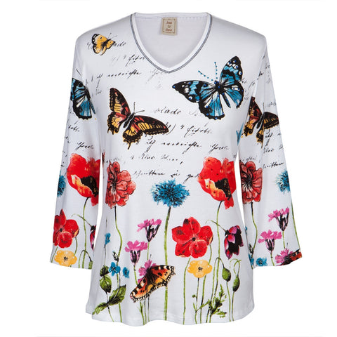 Butterflies Joyful Flowers Women's V-Neck Long Sleeve Blouse