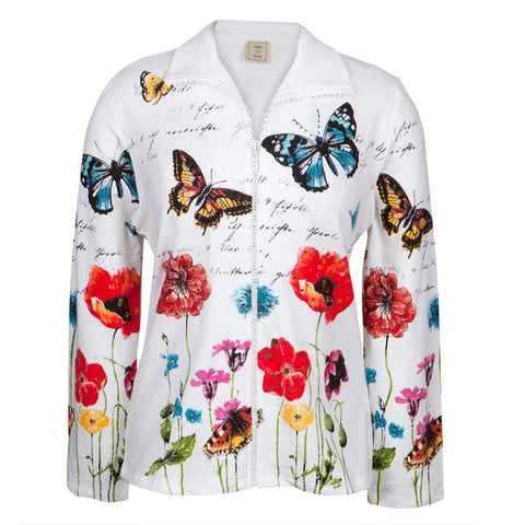 Butterflies Joyful Flowers Women's Rhinestone Zipper Jacket