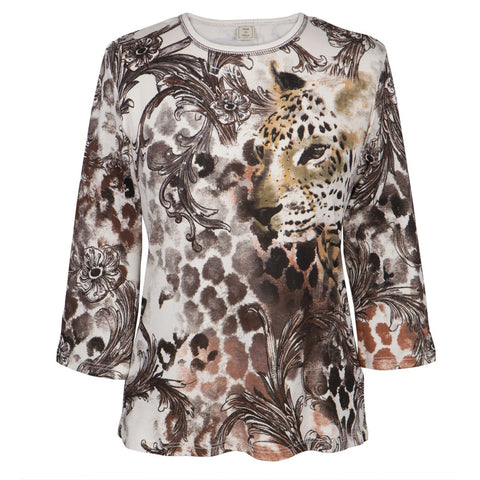 Leopard Blending in Women's Long Sleeve Blouse