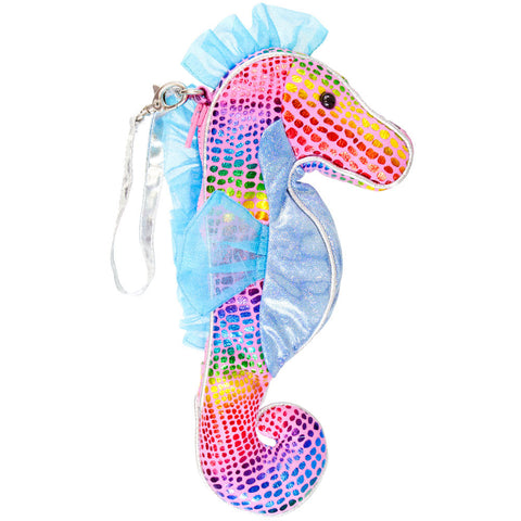 Glitzy the Seahorse Metallic Wristlet Bag