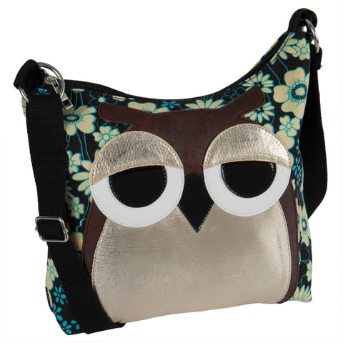 Owl Sleepyville Face Canvas Cross Body Shoulder Bag