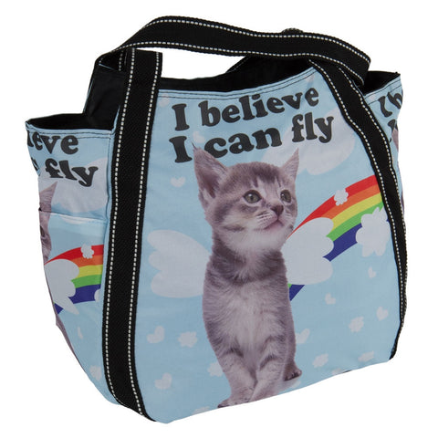 I Believe I Can Fly Kitten Tote Bag