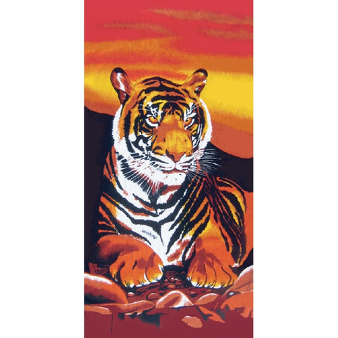 Tiger Laying in the Sunset Velour Beach Towel