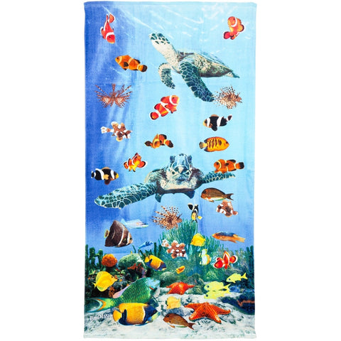 Sea Turtles Swimming With Clownfish Velour Beach Towel