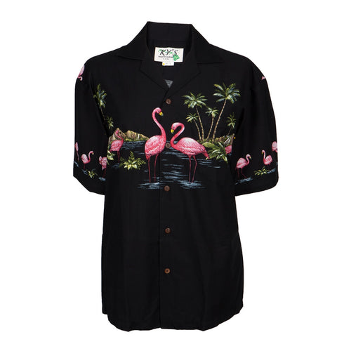 Flamingos in Island Water Hawaiian Shirt