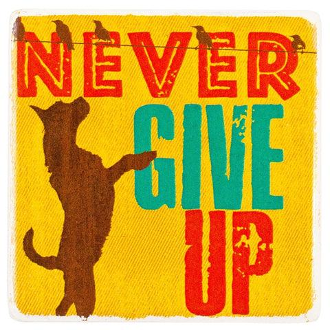 Dog Never Give Up Ceramic Refrigerator Magnet