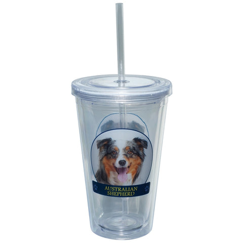 Australian Shepherd Profile Plastic Pint Cup With Straw
