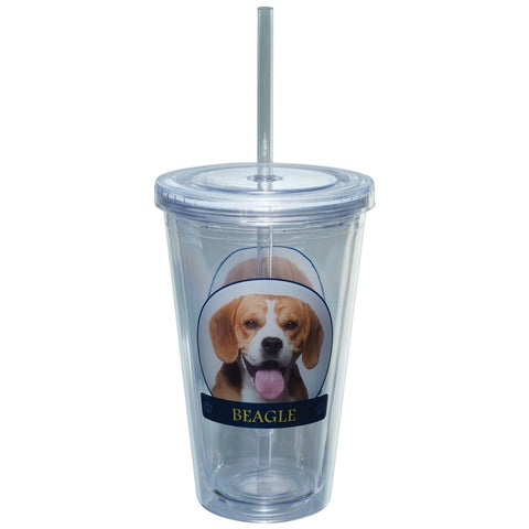 Beagle Profile Plastic Pint Cup With Straw