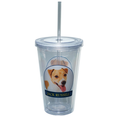 Jack Russell Profile Plastic Pint Cup With Straw
