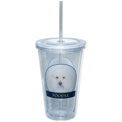 Poodle Profile Plastic Pint Cup With Straw