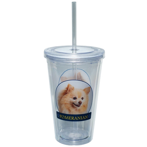 Pomeranian Profile Plastic Pint Cup With Straw
