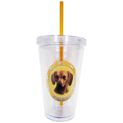 Red Dachshund Profile Circle Plastic Pint Cup With Straw