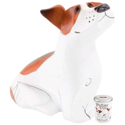 Jack Russell Figurine With Money Box Tin