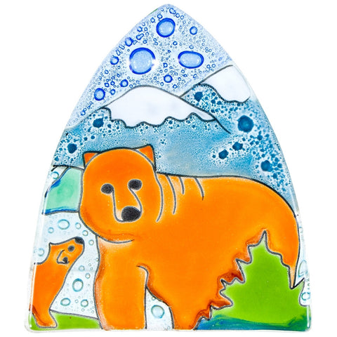 Brown Bear Fused Glass Nightlight Cover