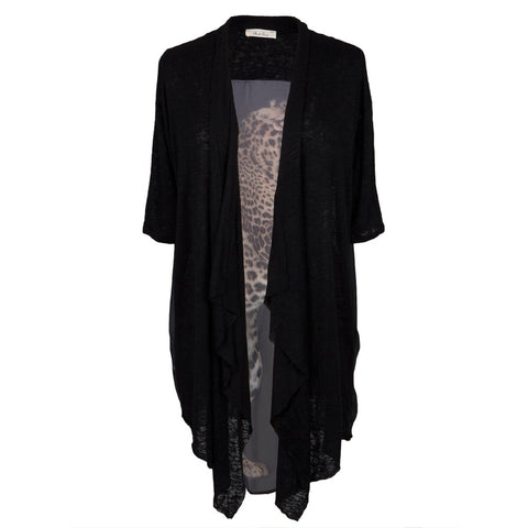 Leopard Sheer Short Sleeve Cardigan