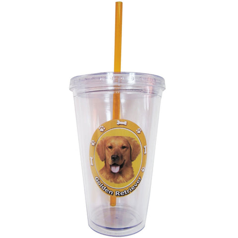 Golden Retriever Profile Circle Plastic Pint Cup With Straw