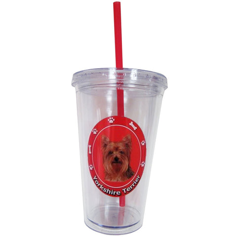Yorkshire Terrier Profile Circle Plastic Pint Cup With Straw