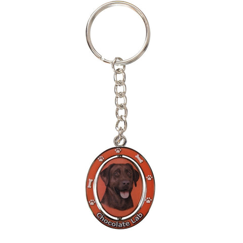 Chocolate Labrador Portrait Oval Metal Keychain
