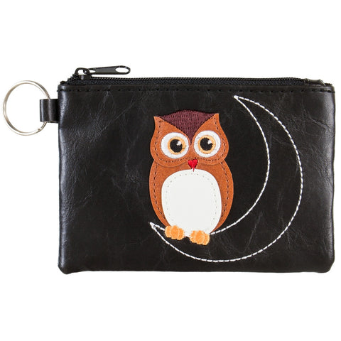Owl on Moon Vinyl Zipper Coin Purse