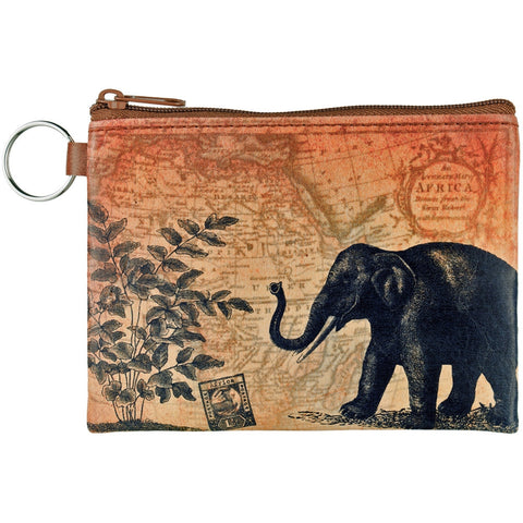 Elephant & Map Key Ring Coin Purse