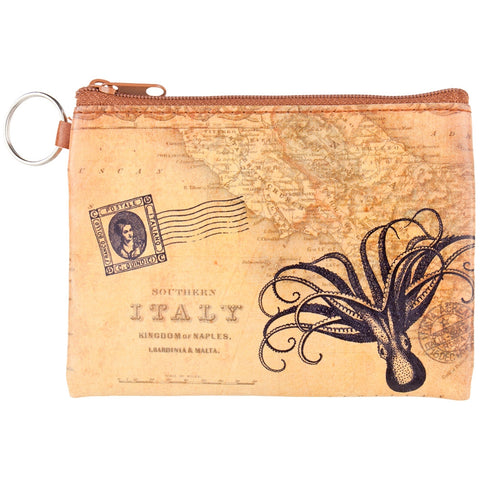 Octopus & Map Key Ring Coin Purse