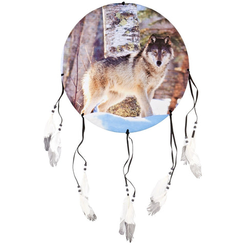 Wolf Standing in Snow Woods Dream Catcher