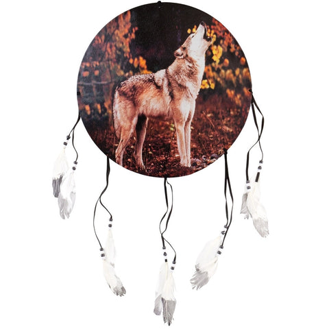 Wolf Howling in Woods Dream Catcher