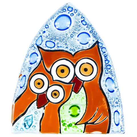 Owl Duo Fused Glass Nightlight Cover