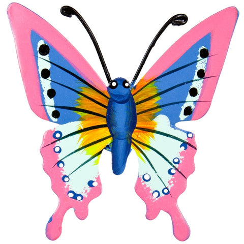 Pink Butterfly Body Bobble Metal Magnet