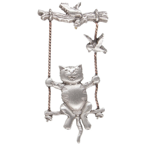 Cat on Tree Swing Pewter Pin