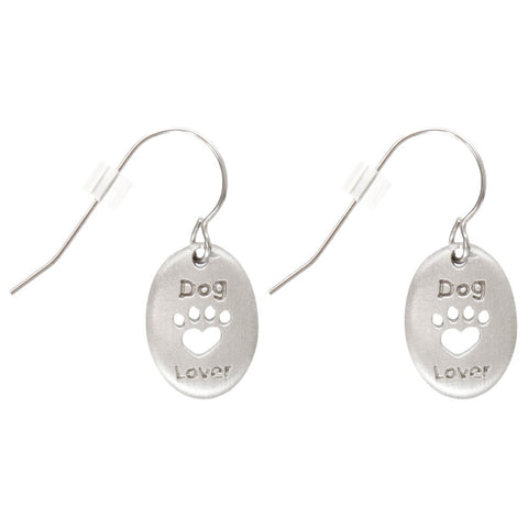 Dog Lover Pewter Fishhook Earrings