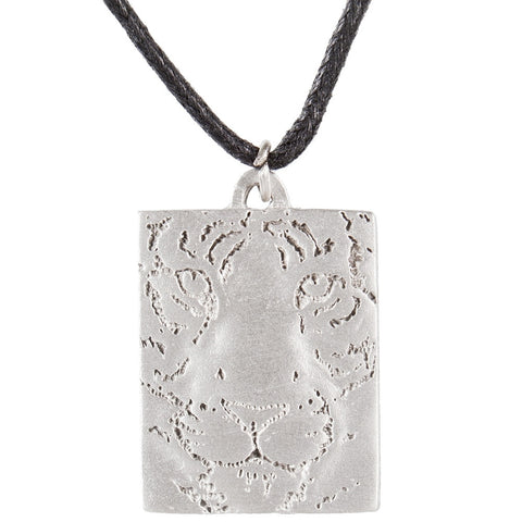 Tiger Etching Black Cord Pewter Necklace