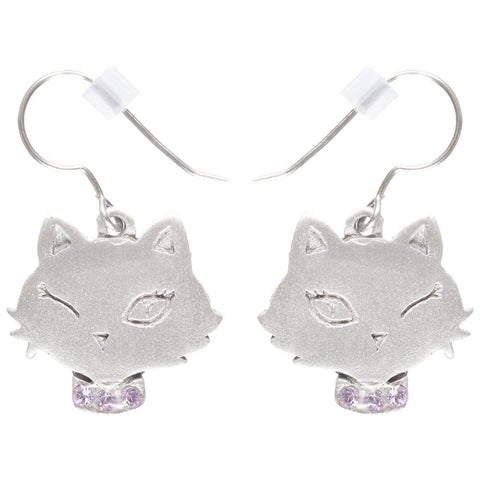 Cat Winking Pewter Fishhook Earrings