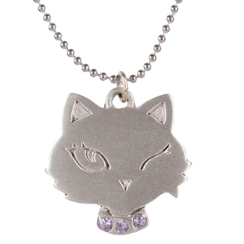 Cat Head Winking Pewter with Violet Necklace