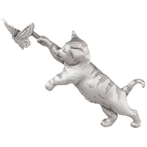 Cat Chasing Butterfly Pewter Pin