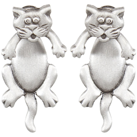 Cat Body Front & Back Pewter Earrings