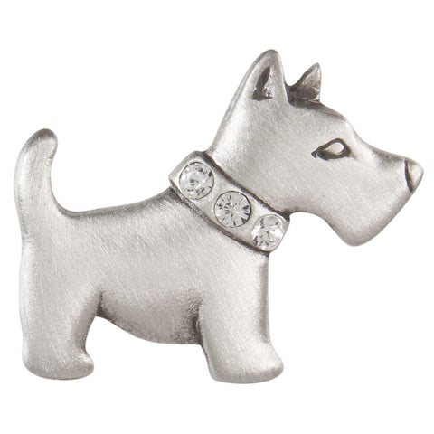 Scottish Terrier With Crystal Collar Pewter Clutch Pin