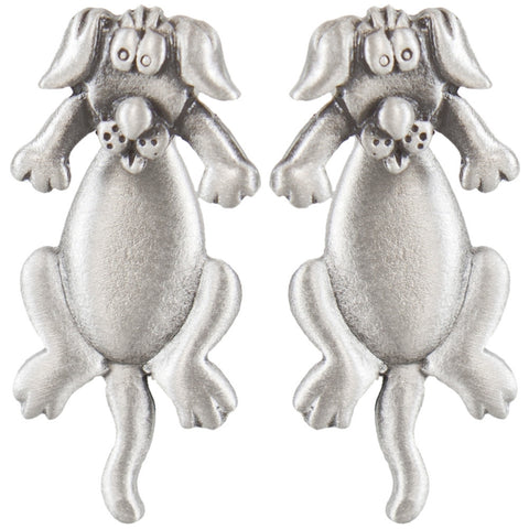 Dog Body Front & Back Pewter Earrings