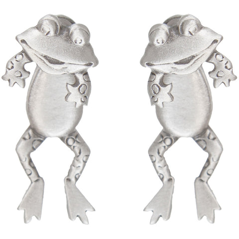 Frog Body Front & Back Pewter Earrings