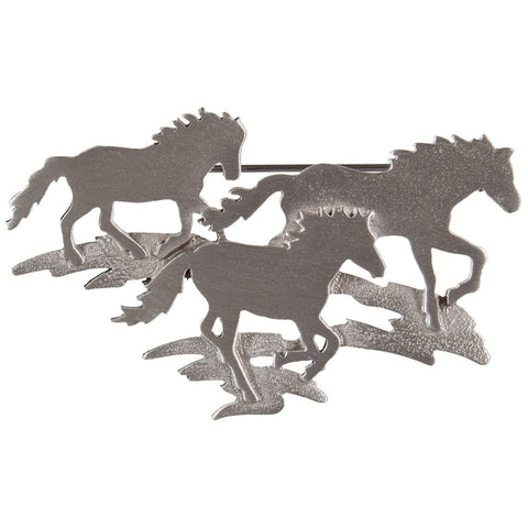 Horse Group Running Pewter Pin