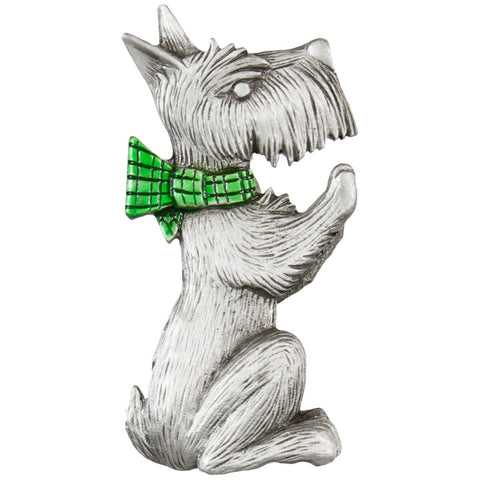 West Highland Terrier With Bow Tie Pewter Pin
