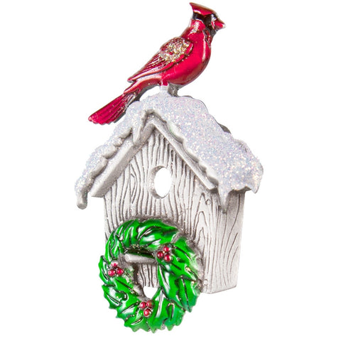 Cardinal on Birdhouse With Wreath Pewter Pin