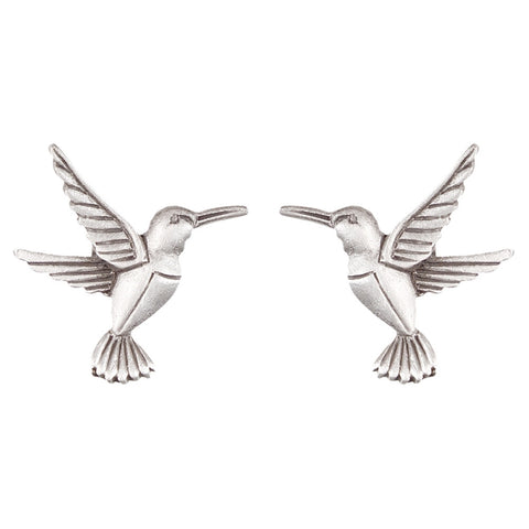 Hummingbird Body Pewter Stud Earrings