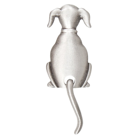 Dog Swinging Tail Pewter Clutch Pin