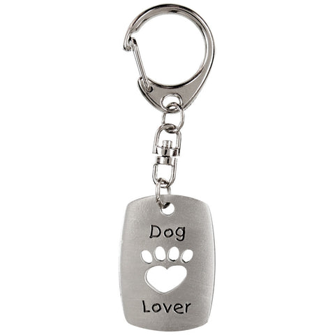 Dog Lover Pewter Key Tag
