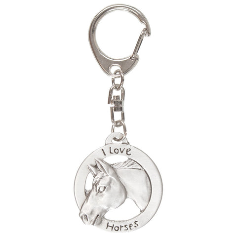 Horse Head I Love Circle Pewter Key Tag