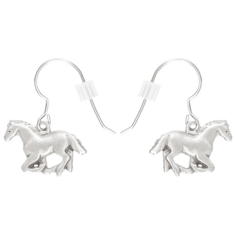 Horse Galloping Pewter Fishhook Earrings