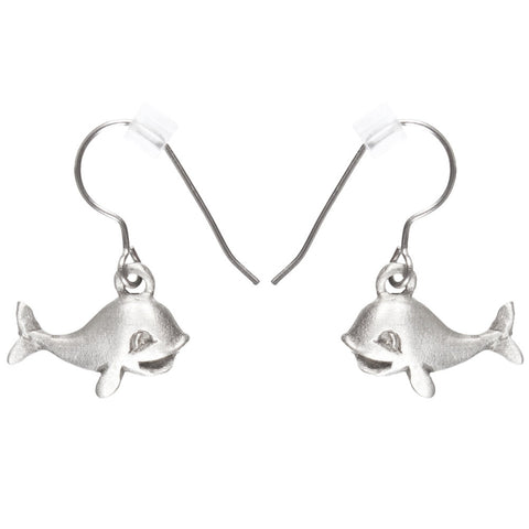 Whale Smiling Pewter Fishhook Earrings