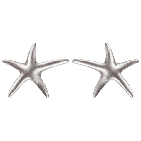 Starfish Body Pewter Stud Earrings
