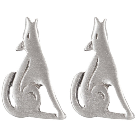 Coyote Standing Pewter Stud Earrings